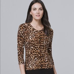 White House Black Market Leopard Cardigan Small